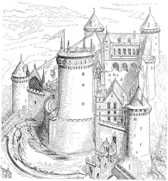 Нарисовать замок карандашом в картинках момента