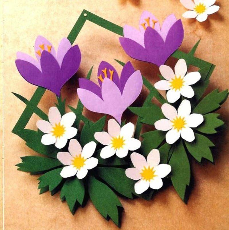 Поделки на 8 марта открытка с объемными цветами, стерео открытка