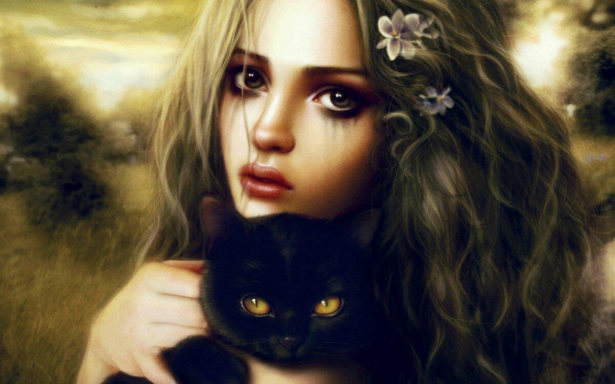 Прикольные картинки девушка с кошкой