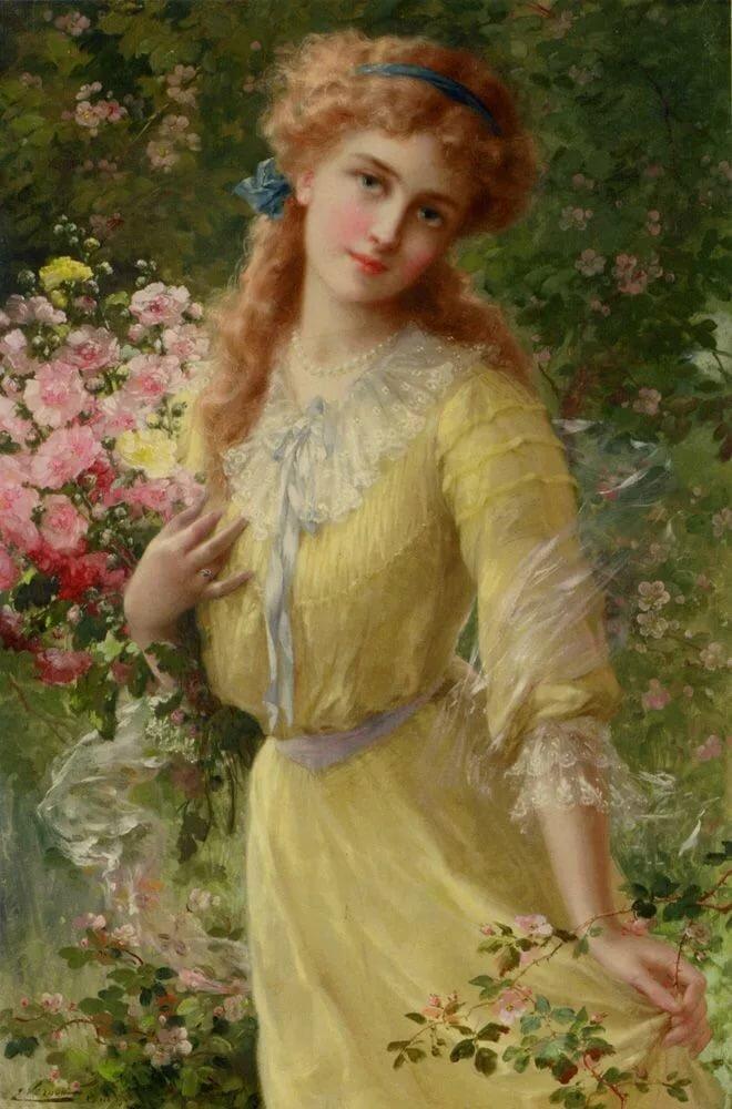 Картинка с дамой, розы