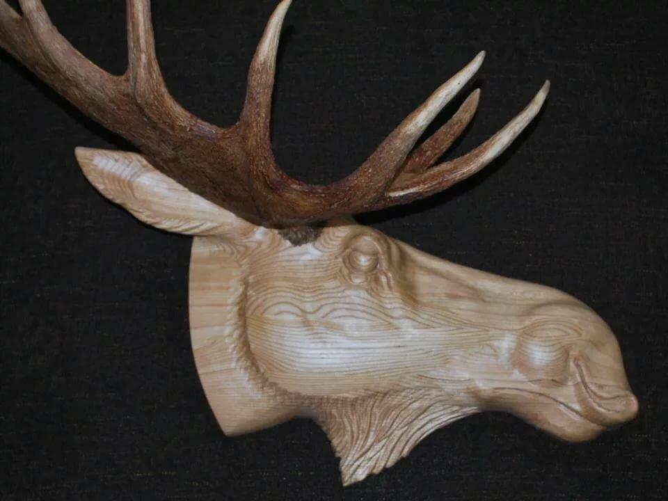 резьба по дереву картинки животных оленя