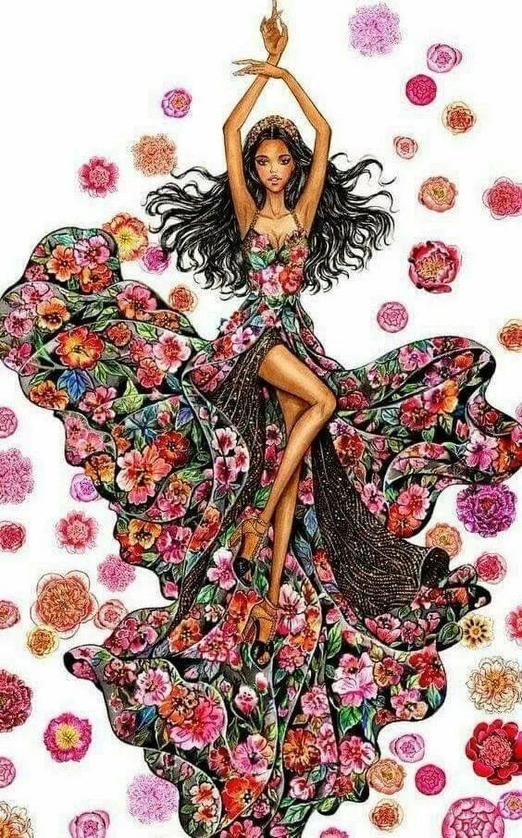 Рисунки прошлое, танец с цветами картинки