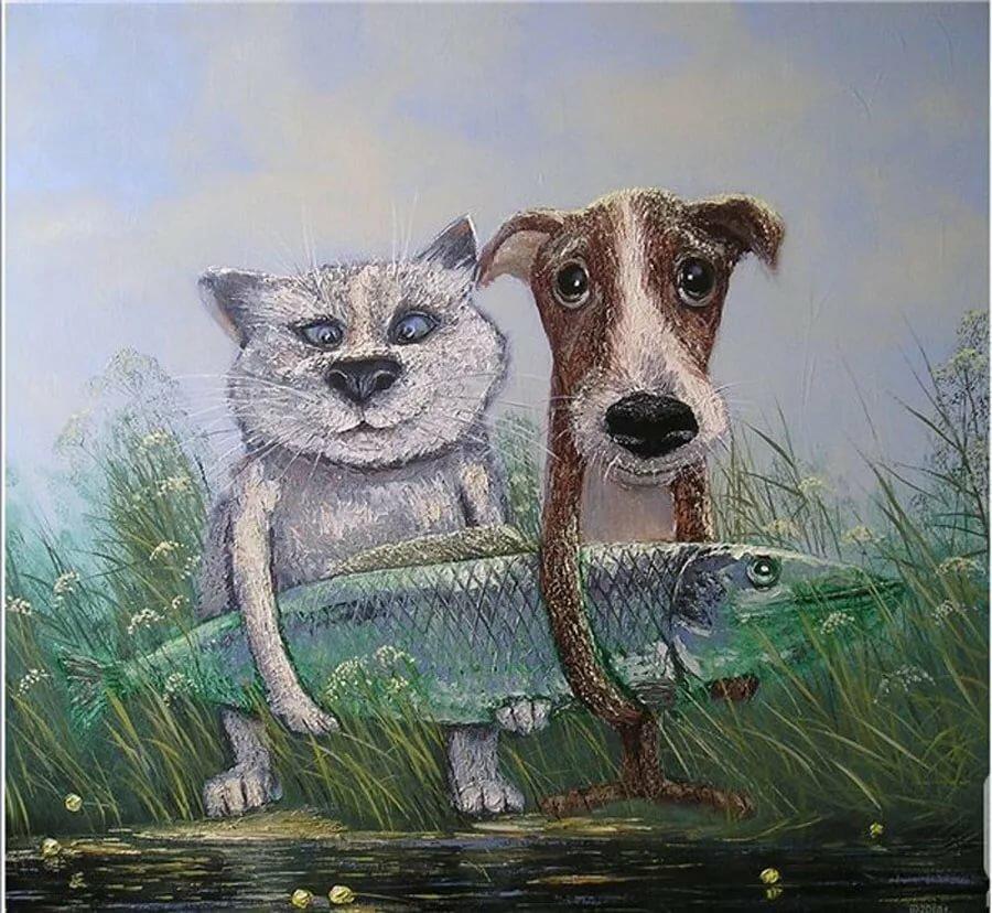 Именем, смешные рисунки собак и котов