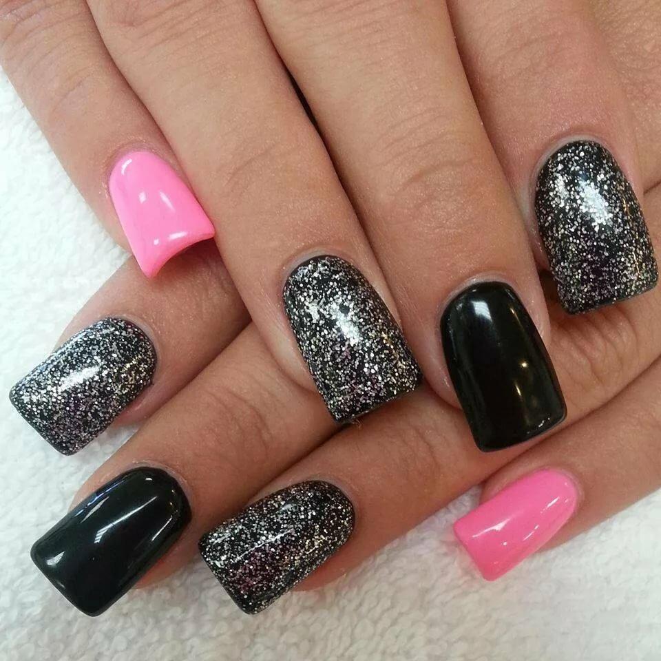 ногти розовый с черным фото дизайн картинки крой расцветки выделяют