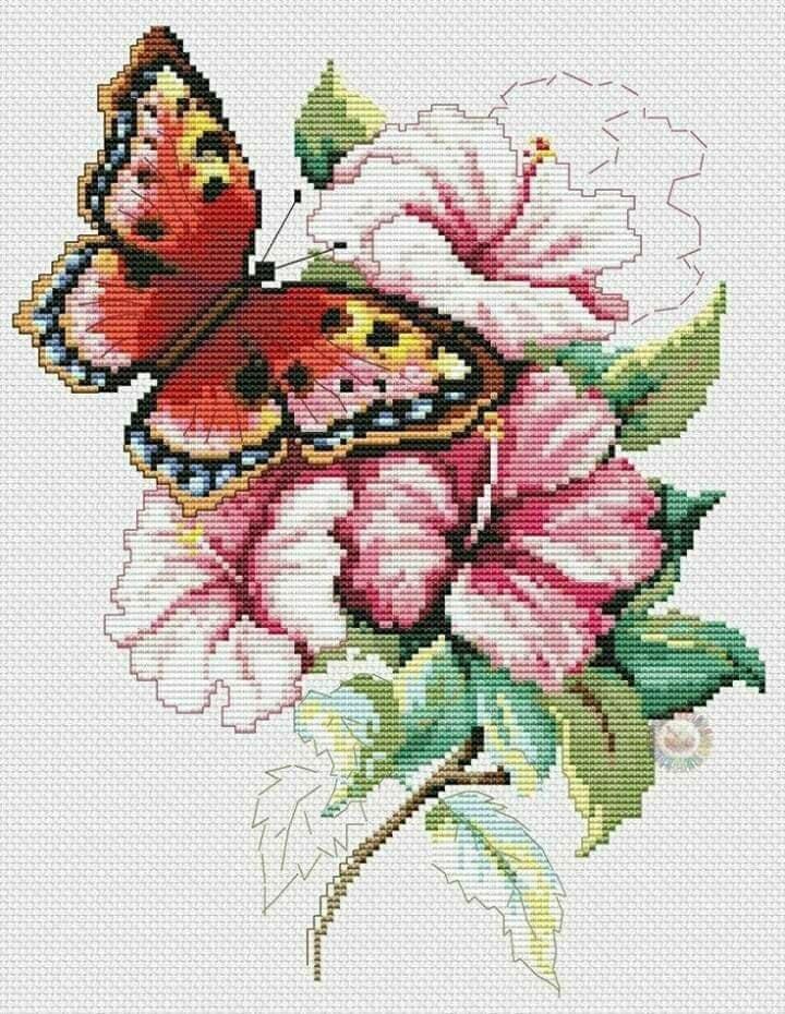 Картинки бабочек вышивка крестом