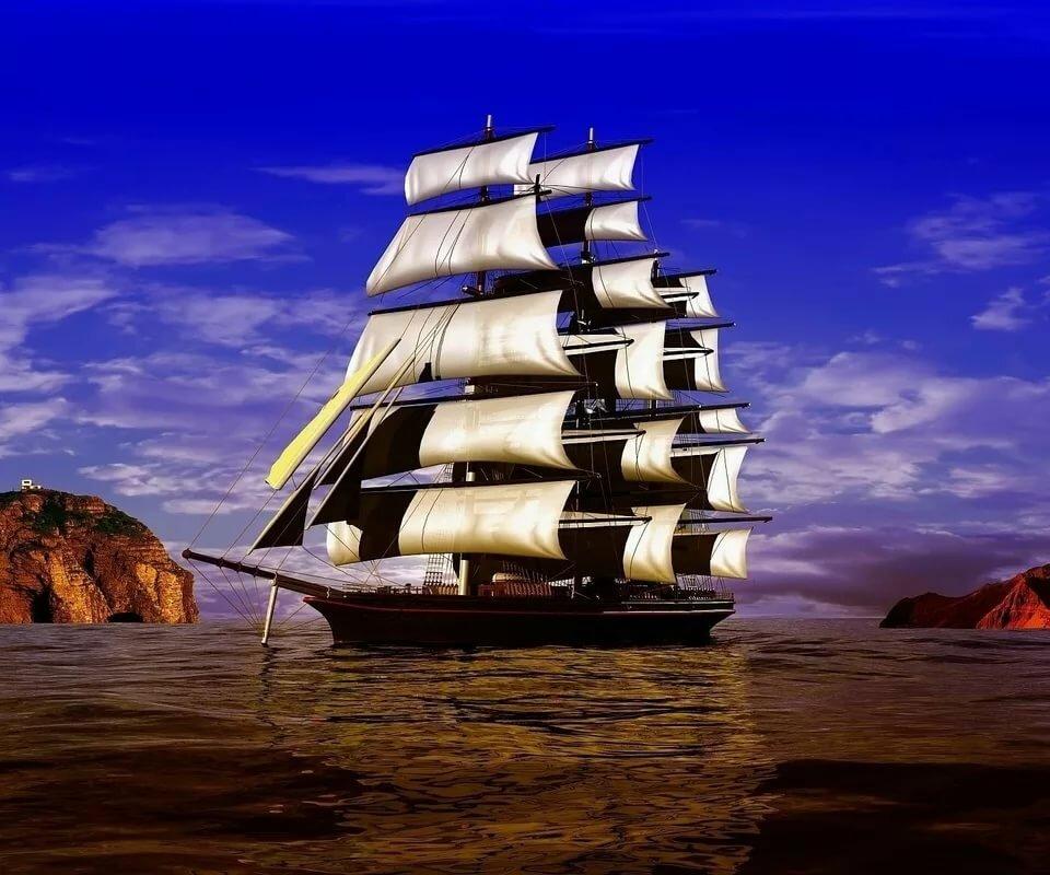 Розы, картинки корабль и море