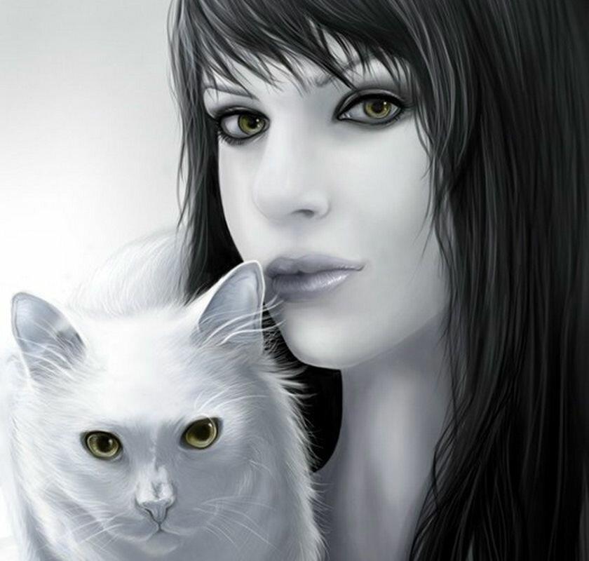 Картинки красивые девушки нарисованные с кошкой, хорошим днем