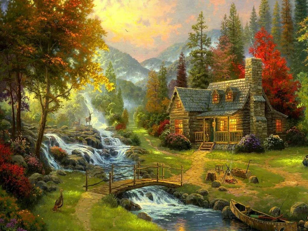 Смешная рисунки, осень сказочный домик гифка