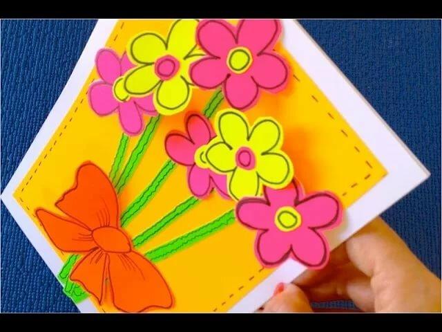 Открытка для бабушки на день рождения своими руками из бумаги