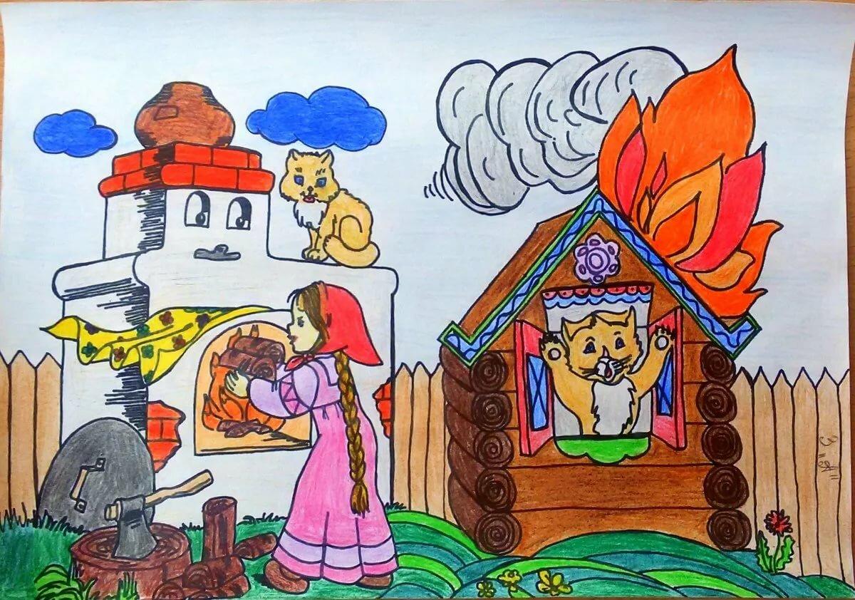 Рисунки карандашом огонь враг всего мира
