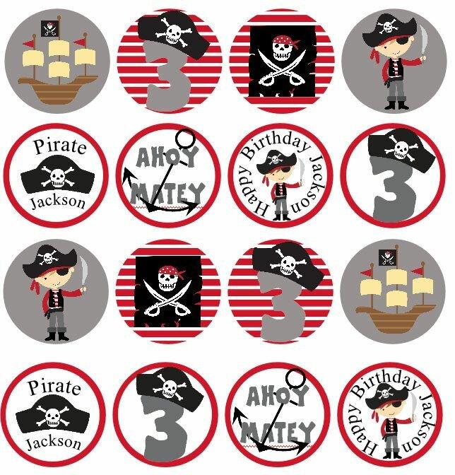 Пиратские картинки на капкейки