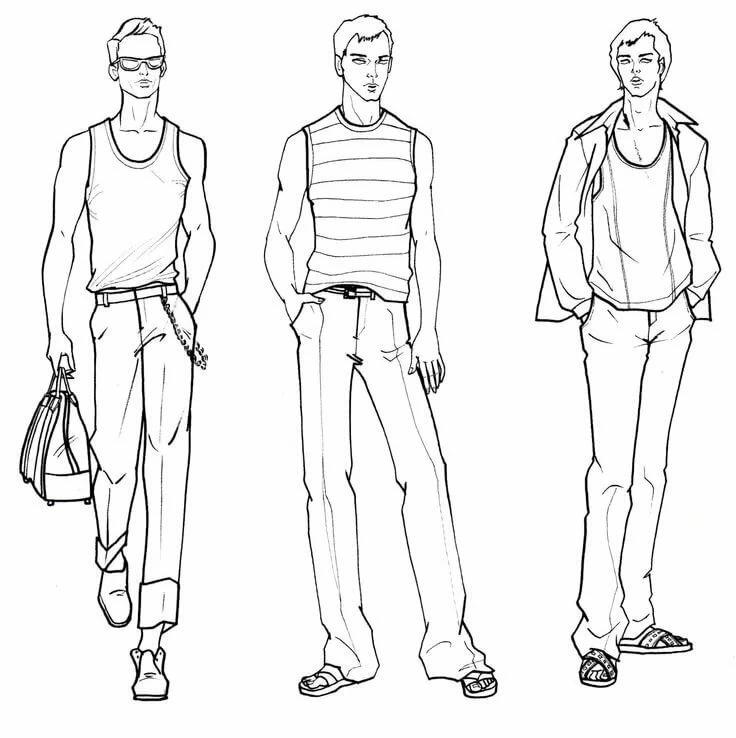 Картинки человека в полный рост в одежде карандашом