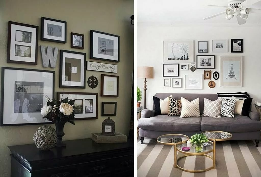 Оформление фотографий на стене в квартире