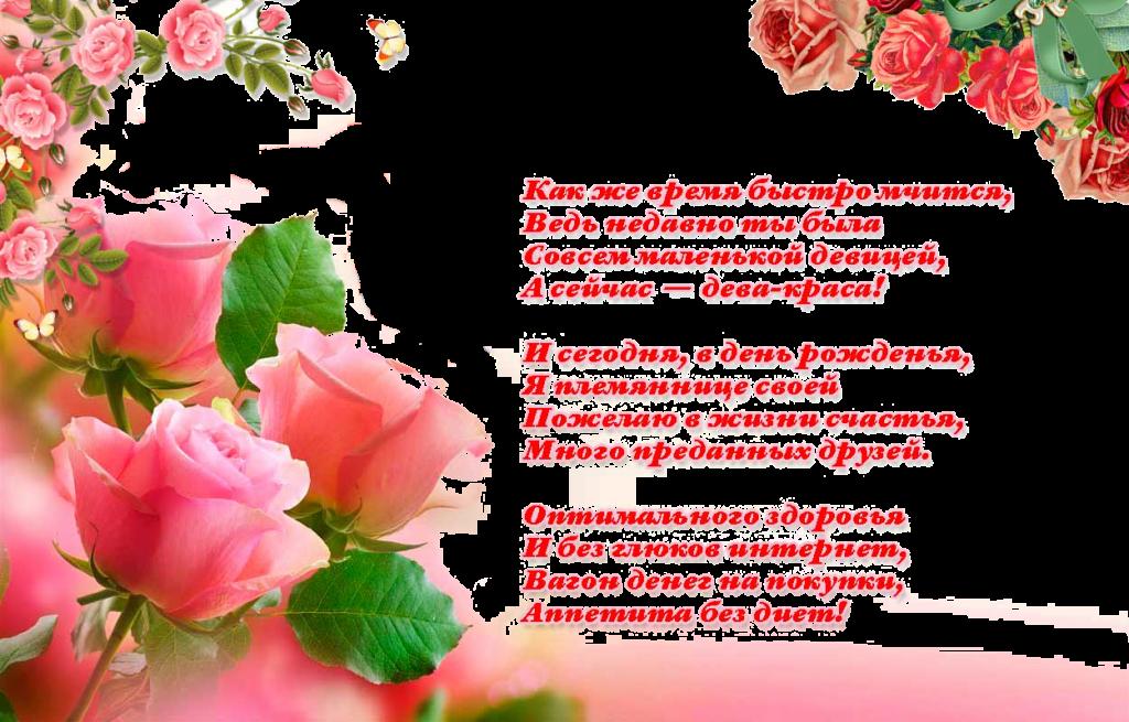 Поздравительный стихи открытка племяннице, приколы