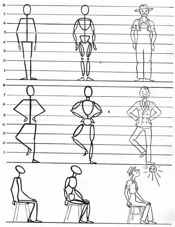 Урок рисование человека поэтапно в картинках