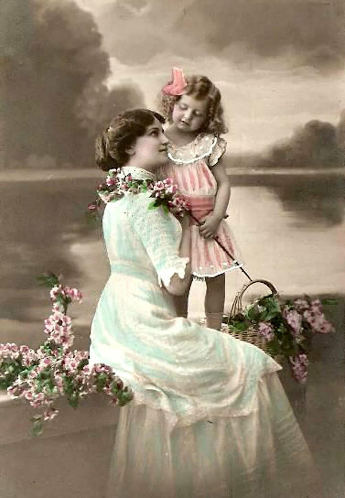 Плакаты, красивая открытка мама и дочка