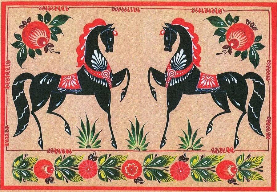 Картинки городецкой росписи с конем по полю