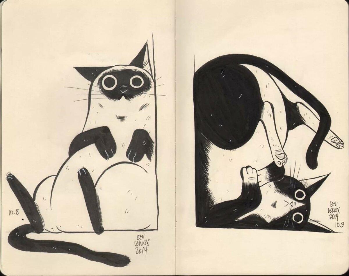 Картинки для срисовки кошек в скетчбук