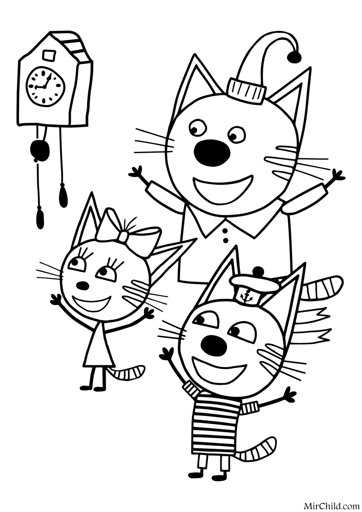 Раскраски Три Кота Распечатать Бесплатно Формат А4