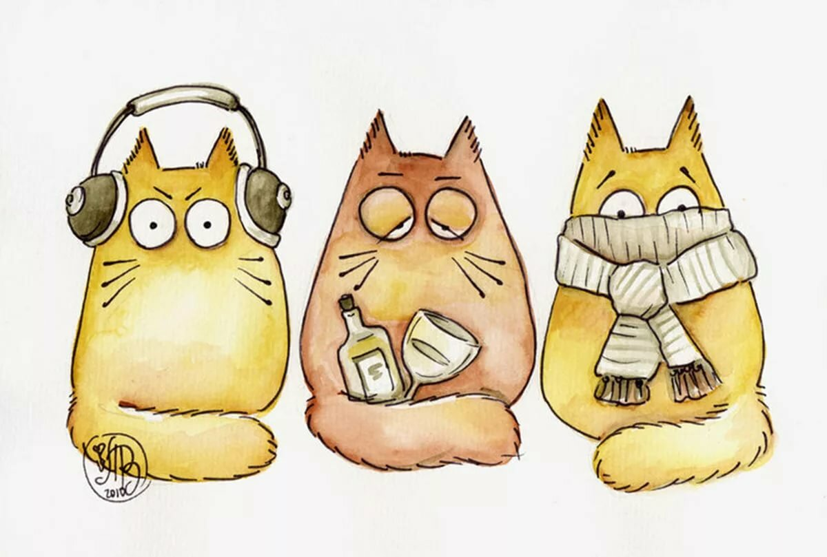 Картинка смешной мультяшный кот, днем рождения