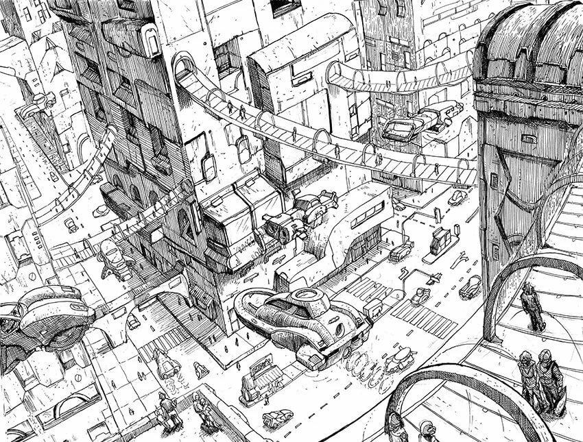 Картинки город будущего нарисованные карандашом