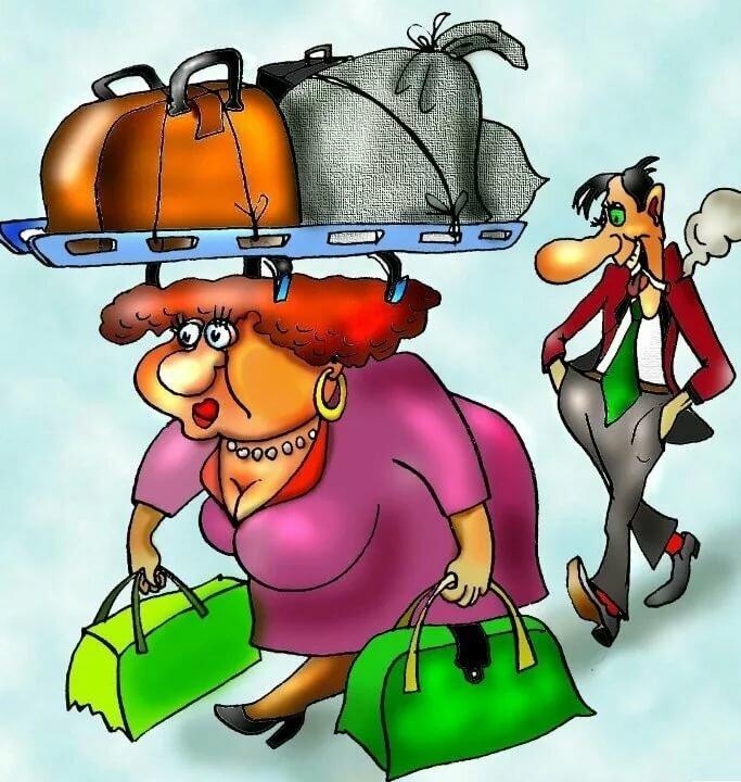 Женщина с сумками прикольные картинки, открытки про учебу