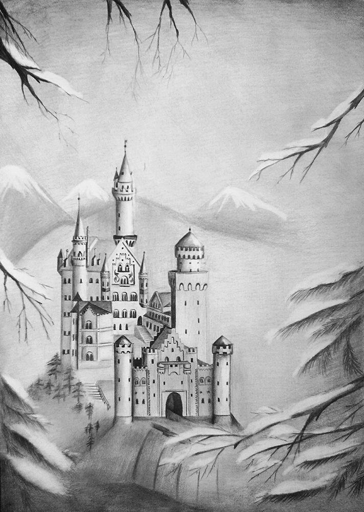 можете нарисовать замок карандашом в картинках рынке