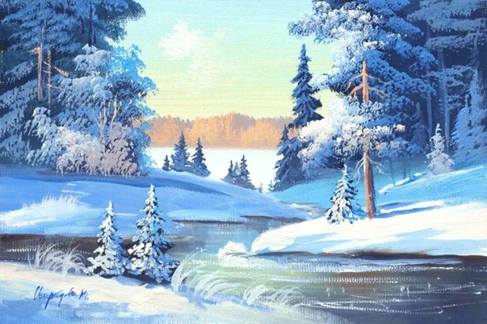 Зимний лес картинка детям