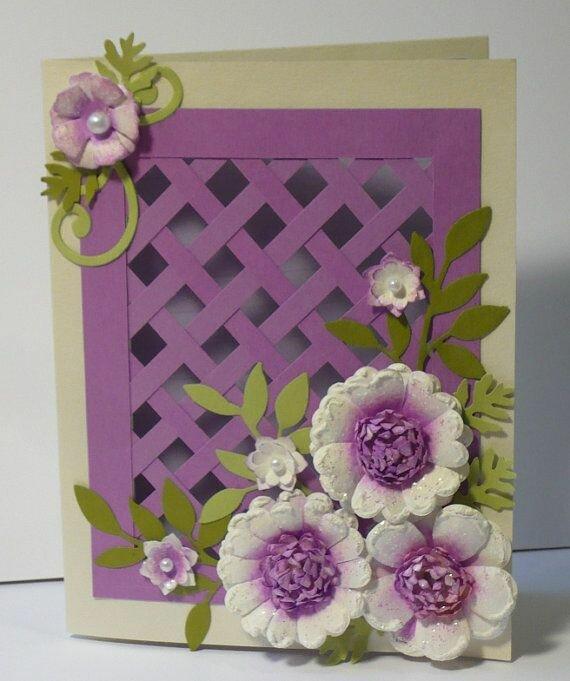 открытка с объемными цветами из бумаги