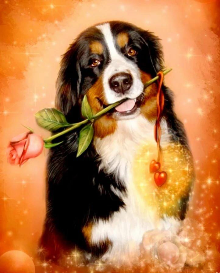Гифки собака с цветком в зубах, картинки маме картинки