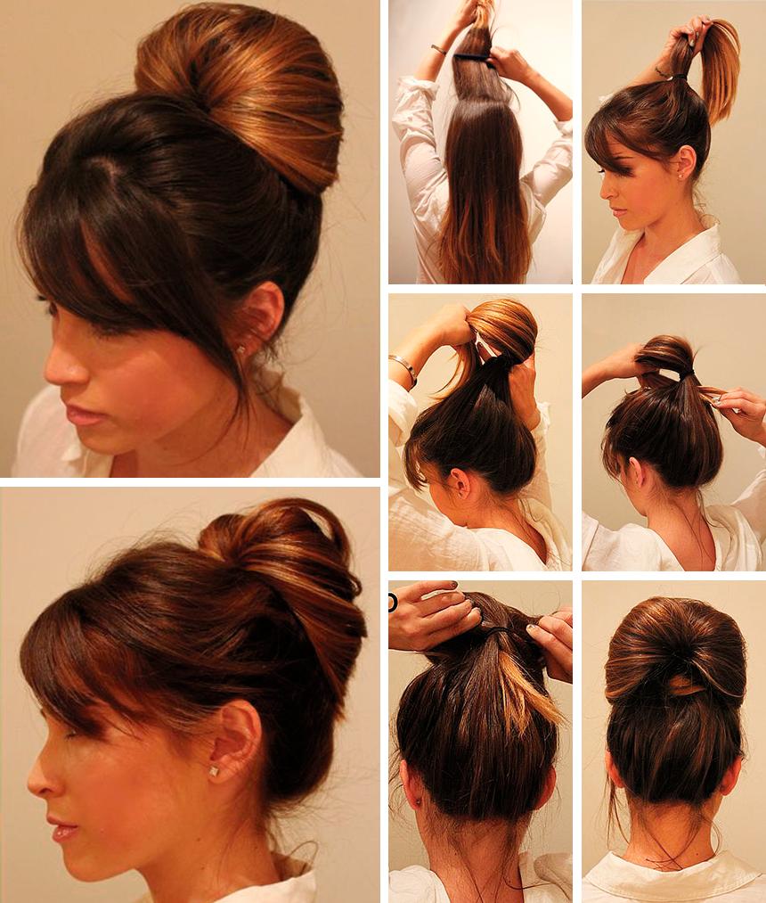 Как сделать шишку на длинные волосы видео — photo 7