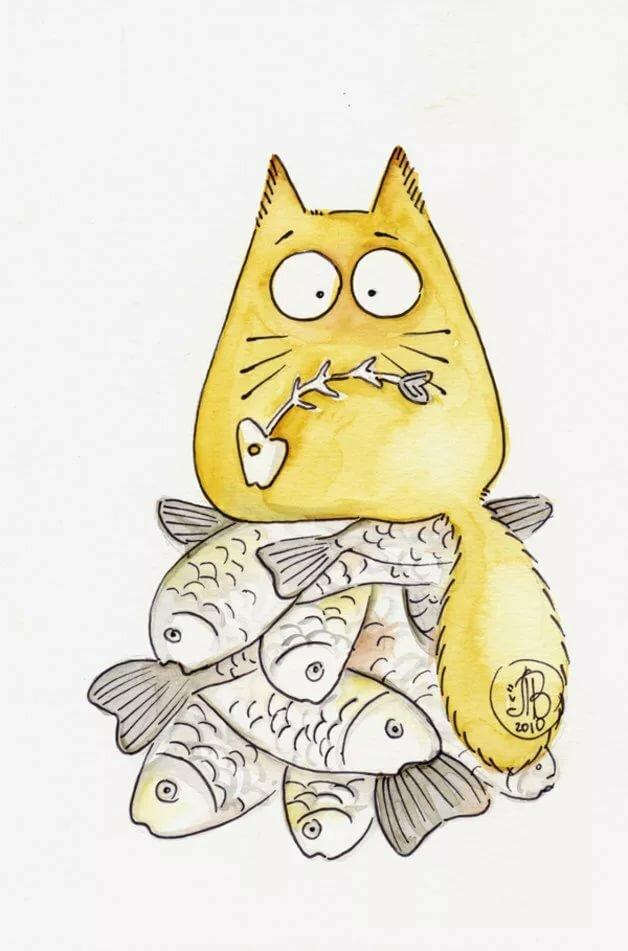Прикольные коты нарисованные картинки