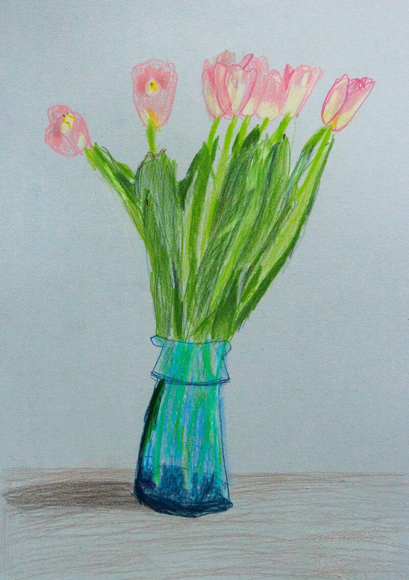 Класс, тюльпаны в вазе картинки рисунок
