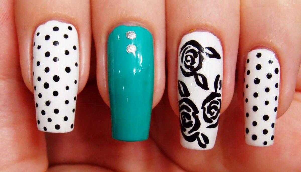 День, самые простые рисунки на ногтях