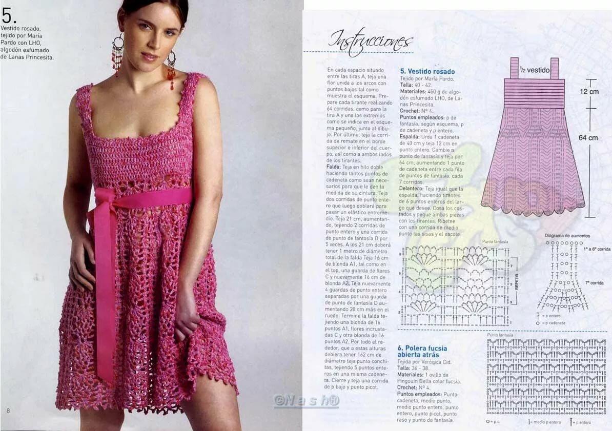 Вязаное платье крючком фото со схемами