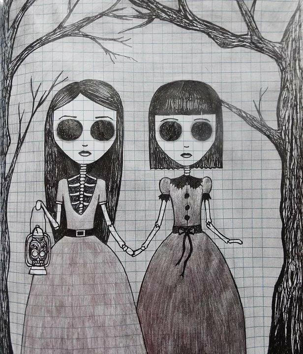 Страшные картинки девочек для срисовки