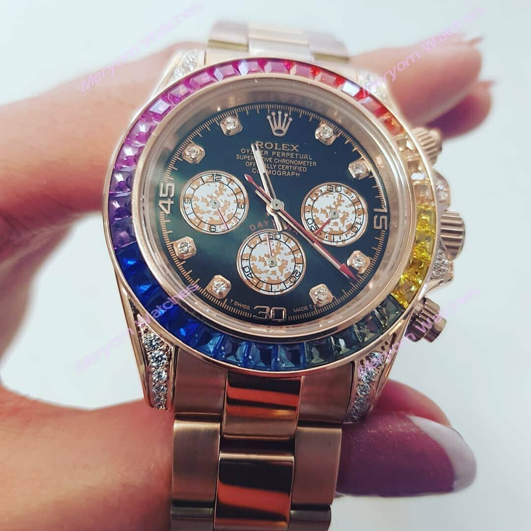 Часы Rolex White Gold Daytona Rainbow в Караганде