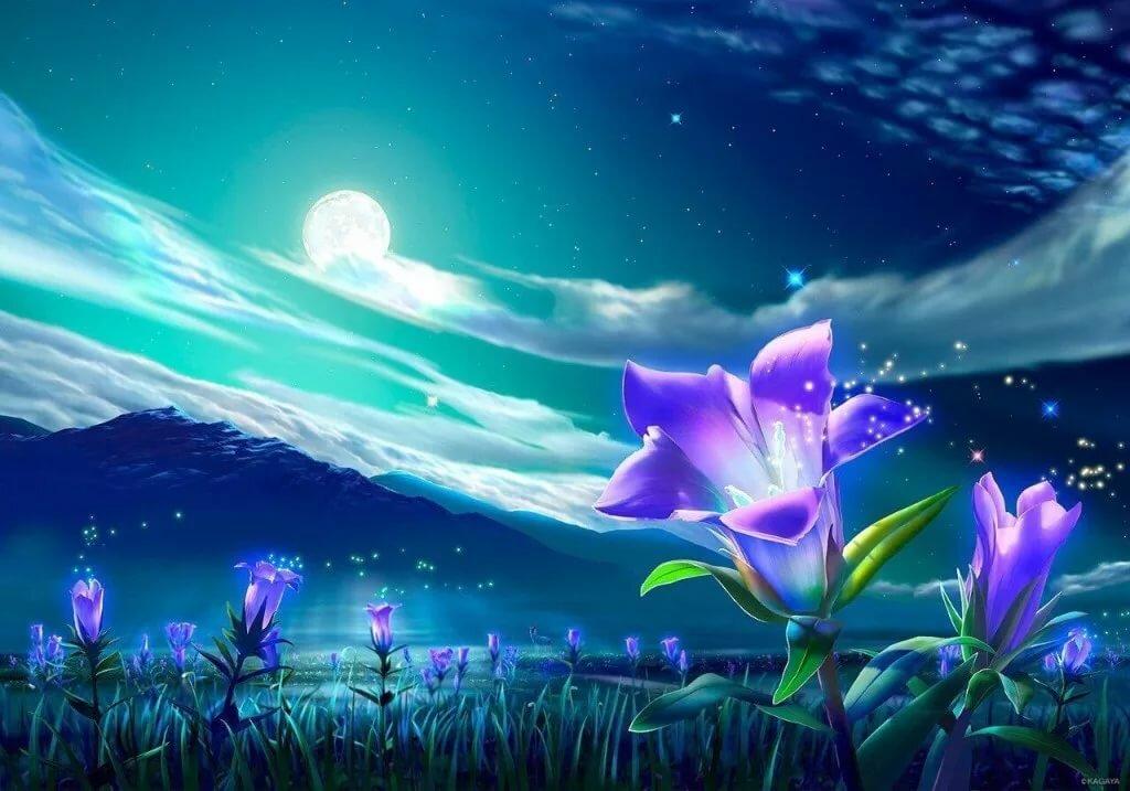 Волшебная открытка цветы, новому года