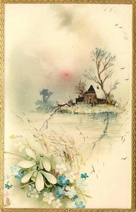 Счастливых выходных, природа на старинных открытках