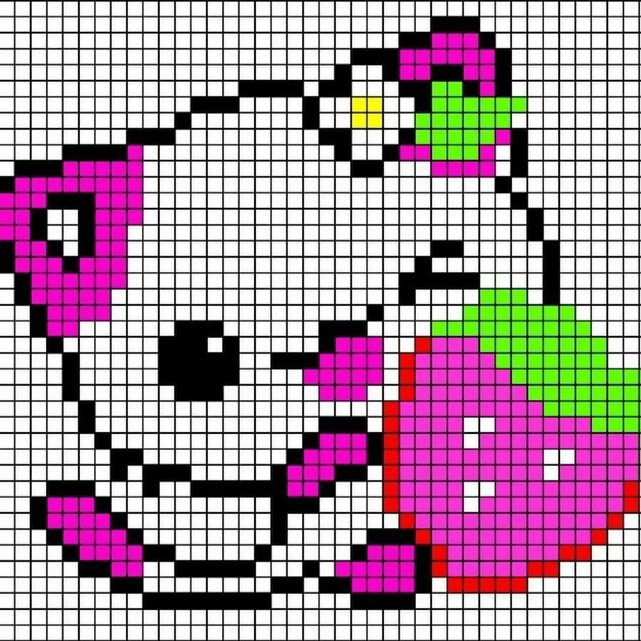 память рисунки по клеточкам цветные картинки с котиками шаблон для