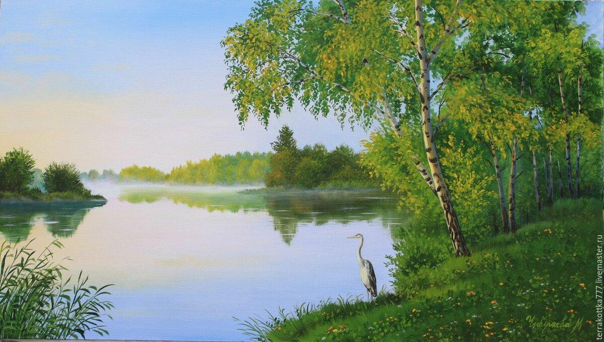 Рисунок березка у озера