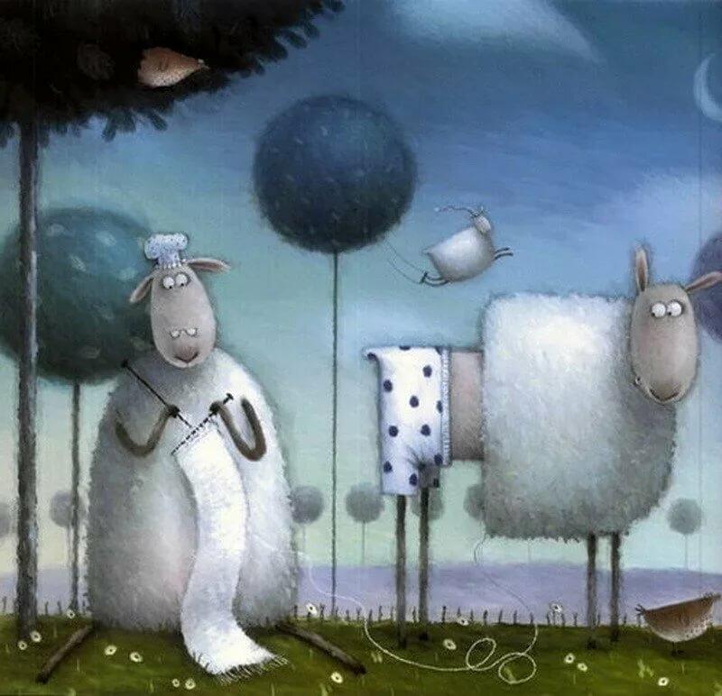 Днем, смешные овечки в рисунках