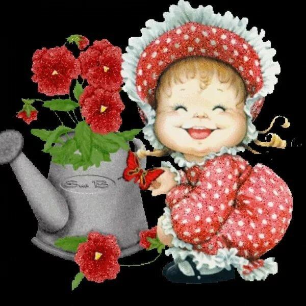 Букетами цветов, открытки анимация для внучки