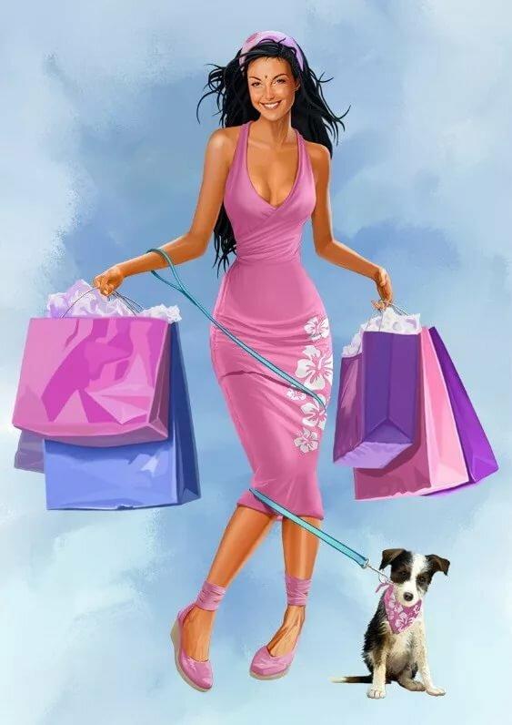 Красивые, прикольные картинки женщина с сумками