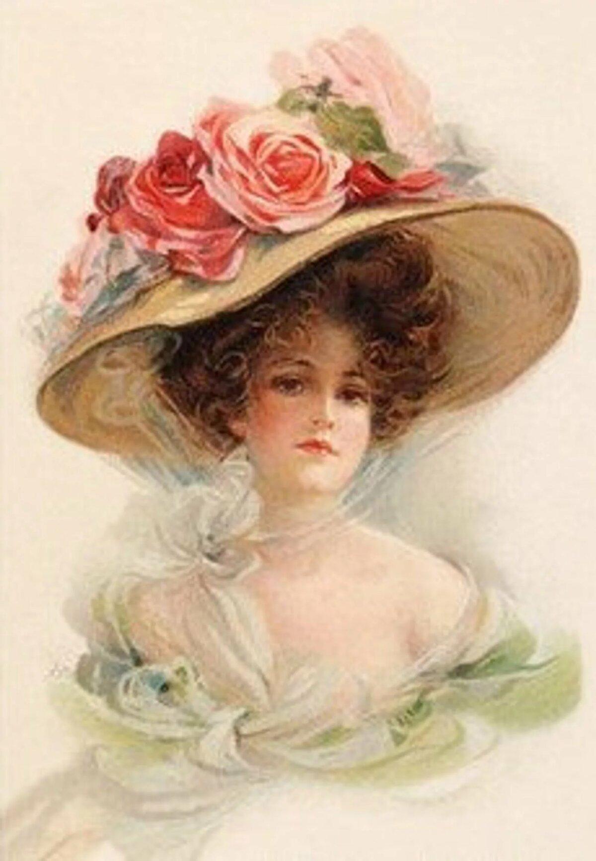 Открытки дамы в шляпах, две сестры