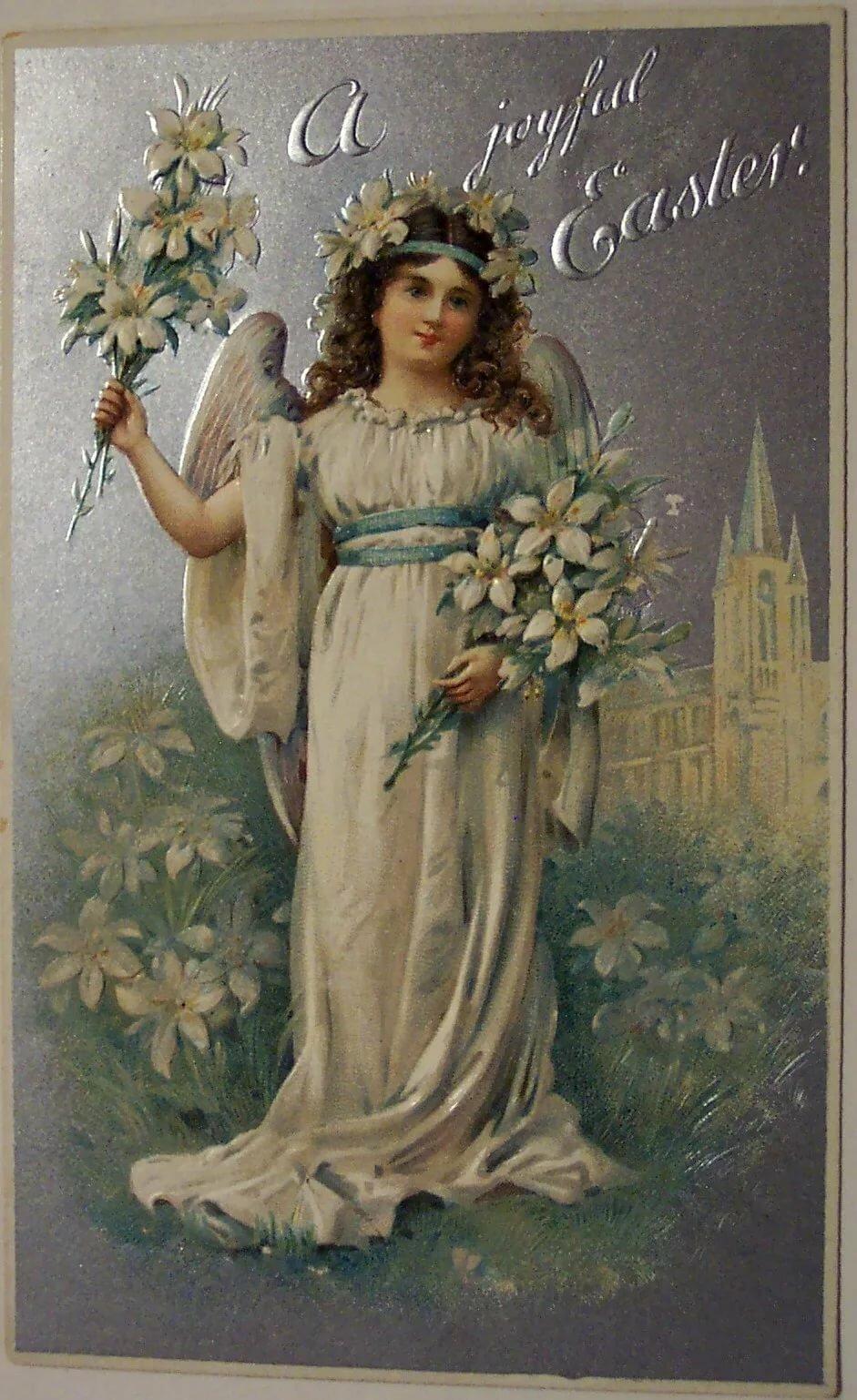 Днем рождения, старинная открытка ангелы