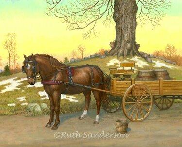 лошадь с повозкой картинки