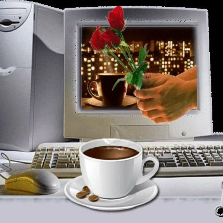 Открытка на компьютере, фото