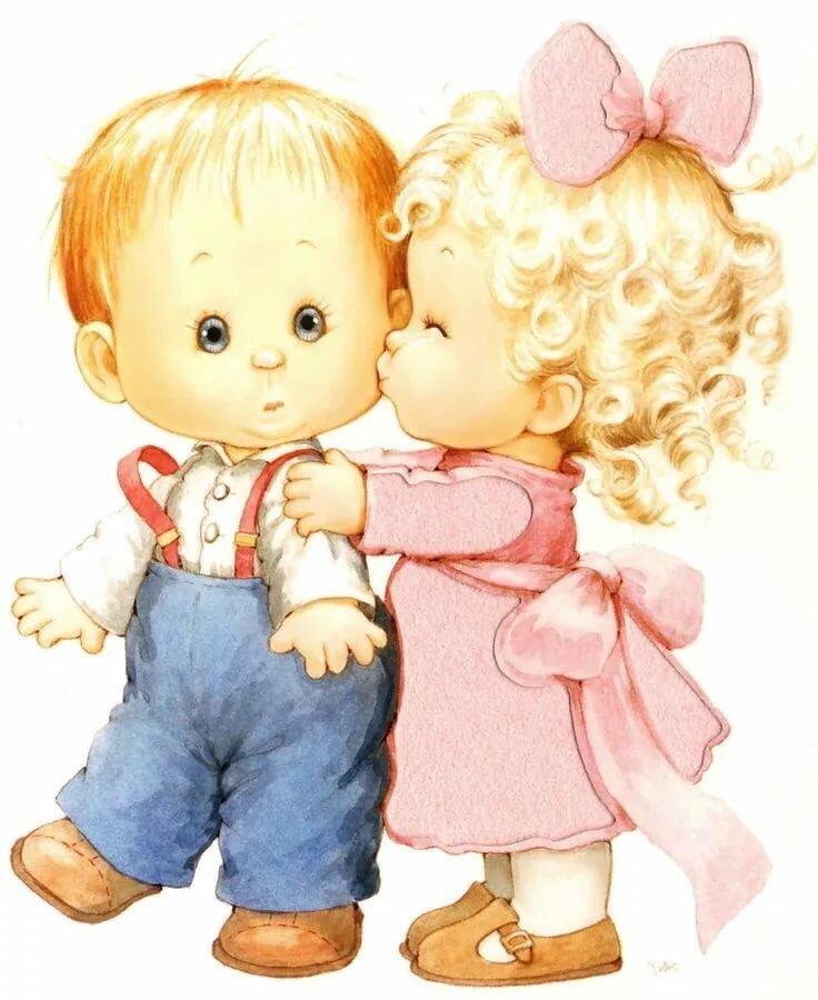 Открытка две куклы, нежностью для мужчины