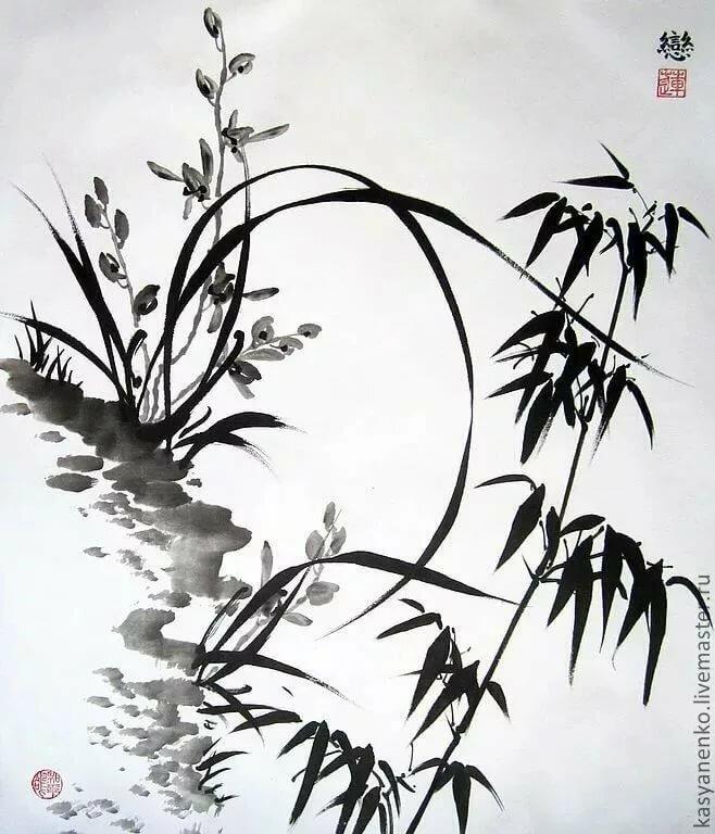 Китайская живопись картинки черно белые, днем